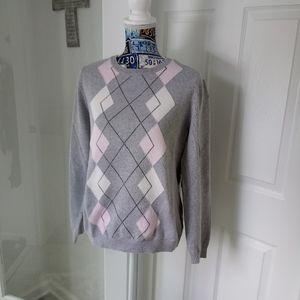 🌞Izod golf style argyle pink gray sweater Large